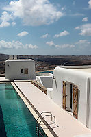 white cycladic house with swimming pool