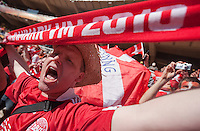 A Denmark fan cheer before their FIFA World Cup first round match between Holland and Denmark at Soccer City in Johannesburg, South Africa on Friday, June 11, 2010.