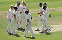 Essex players celebrate taking the wicket of Joe Clarke (bowled Simon Harmer, caught Shane Snater) during Essex CCC vs Nottinghamshire CCC, LV Insurance County Championship Group 1 Cricket at The Cloudfm County Ground on 5th June 2021