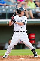 Kyle Shelton #5 of the Charlotte Knights at bat against the Indianapolis Indians at Knights Stadium on July 26, 2011 in Fort Mill, South Carolina.  The Knights defeated the Indians 5-4.   (Brian Westerholt / Four Seam Images)