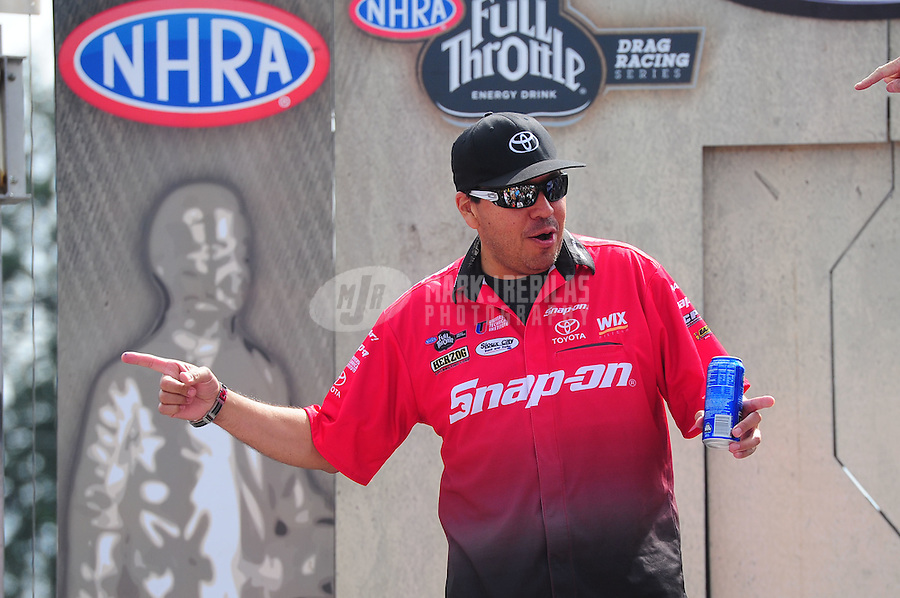 Aug. 7, 2011; Kent, WA, USA; NHRA funny car driver Cruz Pedregon during the Northwest Nationals at Pacific Raceways. Mandatory Credit: Mark J. Rebilas-