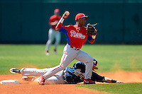 Philadelphia Phillies infielder Angelo Mora (28) attempts to turn a double play as Edison Sanchez (67) slides in during a minor league Spring Training game against the Atlanta Braves at Al Lang Field on March 14, 2013 in St. Petersburg, Florida.  (Mike Janes/Four Seam Images)