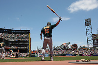 SAN FRANCISCO - JUNE 14:  Jason Giambi #16 of the Oakland Athletics gets ready in the on deck circle during the game against the San Francisco Giants at AT&T Park on June 14, 2009 in San Francisco, California. Photo by Brad Mangin