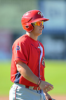 Williamsport Crosscutters infielder Logan Pierce #25 during practice before a game against the Jamestown Jammers on June 20, 2013 at Russell Diethrick Park in Jamestown, New York.  Jamestown defeated Williamsport 12-6.  (Mike Janes/Four Seam Images)