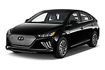 2020 Hyundai Ioniq-Electric Limited 5 Door Hatchback Angular Front automotive stock photos of front three quarter view