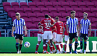 27th September 2020; Ashton Gate Stadium, Bristol, England; English Football League Championship Football, Bristol City versus Sheffield Wednesday;  Tommy Rowe of Bristol City celebrates with his team after scoring in 59th minute 1-0
