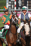 July 11, 2015: Delaware Oaks contender–and favorite–Lovely Maria, Kerwin Clark up, takes part in the post parade. Calamity Kate, Edgar Prado up, wins the Grade III Delaware Oaks, one and one sixteenth miles for 3 year old fillies at Delaware Park in Stanton DE. Trainer is Kelly Breen. Joan Fairman Kanes/ESW/CSM