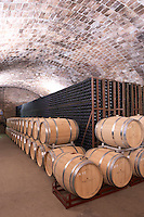 Oak barrel and bottle aging cellar. Albet i Noya. Oak barrel aging and fermentation cellar. Penedes Catalonia Spain