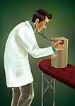 Doctor examining a pile of money with a stethoscope