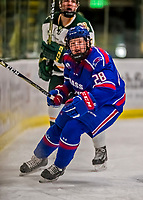 19 January 2018: University of Massachusetts Lowell Riverhawks Forward Connor Sodergren, a Freshman from Tewskbury, MA, in first period action against the University of Vermont Catamounts at Gutterson Fieldhouse in Burlington, Vermont. The Riverhawks rallied to defeat the Catamounts 3-2 in overtime of their Hockey East matchup. Mandatory Credit: Ed Wolfstein Photo *** RAW (NEF) Image File Available ***