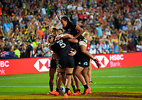 The New Zealand Black Ferns celebrate their final try during the cup final against Canada on day two of the 2020 HSBC World Sevens Series Hamilton at FMG Stadium in Hamilton, New Zealand on Sunday, 26 January 2020. Photo: Dave Lintott / lintottphoto.co.nz