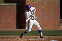 Austen Zente (5) of the High Point Panthers swings at an inside pitch during the game against the NJIT Highlanders at Williard Stadium on February 19, 2017 in High Point, North Carolina. The Panthers defeated the Highlanders 6-5. (Brian Westerholt/Four Seam Images)