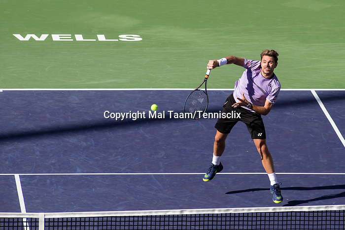 March 8, 2019: Stan Wawrinka (SUI) hits an overhead during his match where he defeated Daniel Evans (GBR) 6-7, 6-3, 6-3 at the BNP Paribas Open at the Indian Wells Tennis Garden in Indian Wells, California. ©Mal Taam/TennisClix/CSM