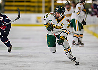 9 February 2020: University of Vermont Catamount Forward Ève-Audrey Picard, a Senior from Longueuil, Québec, in second period action against the University of Connecticut Huskies at Gutterson Fieldhouse in Burlington, Vermont. The Lady Cats defeated the Huskies 6-2 in the second game of their weekend Hockey East series. Mandatory Credit: Ed Wolfstein Photo *** RAW (NEF) Image File Available ***