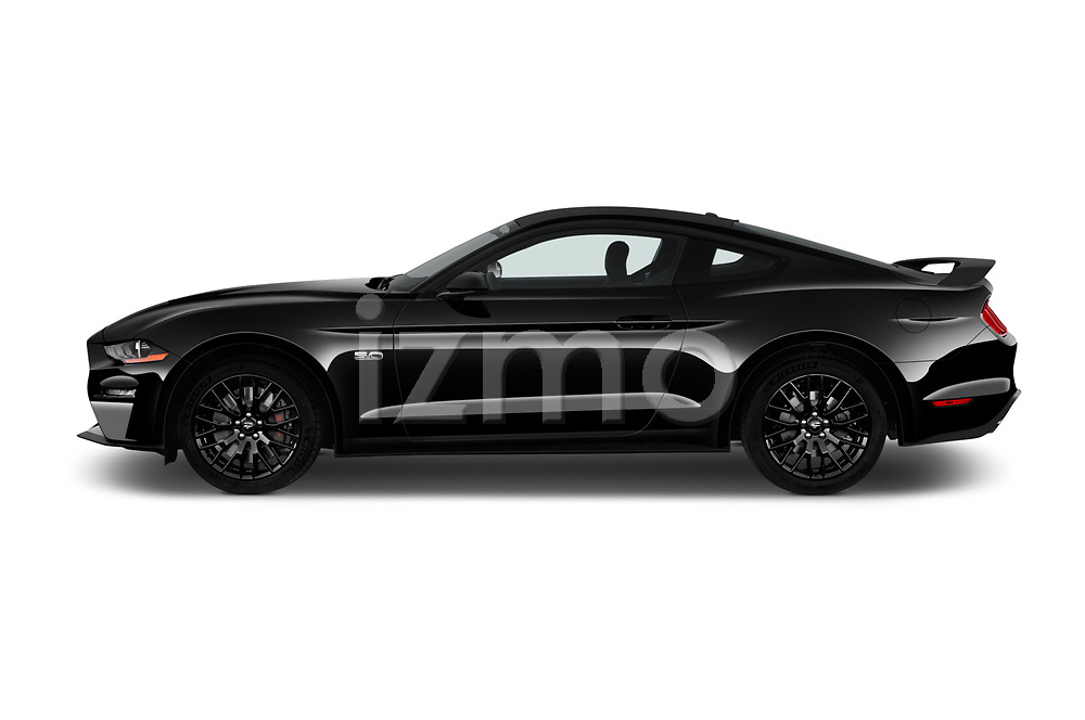Car driver side profile view of a 2018 Ford Mustang GT 2 Door Coupe