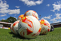 Match balls on the pitch ahead of the warm up during Stevenage vs Crewe Alexandra, EFL League 2 Football at the Lamex Stadium on 6th August 2016