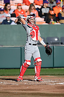 Catcher John Tuccillo (45) of the Stony Brook Seawolves in a game against the Clemson Tigers on Friday, February 21, 2020, at Doug Kingsmore Stadium in Clemson, South Carolina. Clemson won, 2-0. (Tom Priddy/Four Seam Images)