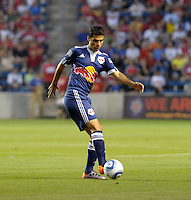 New York defender Rafael Marquez (4) plays the ball.  The Chicago Fire tied the New York Red Bulls 0-0 at Toyota Park in Bridgeview, IL on August 8, 2010