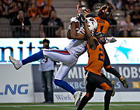 Vancouver, September, 09, 2016 - Alouette BJ Cunningham [L]makes the catch against Lions Mike Edem and Anthony Gaitor. The Montreal Alouettes lost to the BC Lions 27-38. (Andrew Soong)