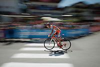Grega Bole (SLO/Nippo-Vini Fantini) just left the start podium<br /> <br /> stage 15 (iTT): Castelrotto-Alpe di Siusi 10.8km<br /> 99th Giro d'Italia 2016