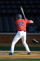 Tyler Galazin (22) of the Liberty Flames at bat against the Wake Forest Demon Deacons at David F. Couch Ballpark on April 25, 2018 in  Winston-Salem, North Carolina.  The Demon Deacons defeated the Flames 8-7.  (Brian Westerholt/Four Seam Images)