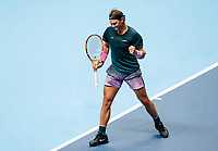 19th November 2020; O2, London;  Rafael Nadal of Spain reacts during the singles group match against StefanTsitsipas of Greece at the ATP, World Tour Finals 2020 in London