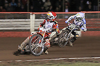 Heat 18: Andreas Jonsson (red) and Darcy Ward (white) - Lee Richardson Memorial Speedway Meeting at Arena Essex Raceway, Purfleet - 28/09/12 - MANDATORY CREDIT: Gavin Ellis/TGSPHOTO - Self billing applies where appropriate - 0845 094 6026 - contact@tgsphoto.co.uk - NO UNPAID USE.