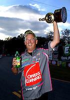 Oct 5, 2014; Mohnton, PA, USA; NHRA pro stock driver Rodger Brogdon celebrates after winning the NHRA Nationals at Maple Grove Raceway. Mandatory Credit: Mark J. Rebilas-USA TODAY Sports