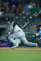 Nick Madrigal (3) of the Winston-Salem Dash lays down a bunt during the game against the Myrtle Beach Pelicans at TicketReturn.com Field on May 16, 2019 in Myrtle Beach, South Carolina. The Dash defeated the Pelicans 6-0. (Brian Westerholt/Four Seam Images)