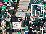 Spring board high jumpers dunking the basketball at the halftime show during the game between the Louisiana Monroe Warhawks and the University of North Texas Mean Green at the North Texas Coliseum,the Super Pit, in Denton, Texas. UNT defeats ULM 86 to 51...