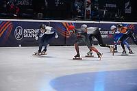 SPEEDSKATING: DORDRECHT: 07-03-2021, ISU World Short Track Speedskating Championships, QF 1000m Men, Charles Hamelin (CAN), Vladislav Bykanov (ISR), ©photo Martin de Jong