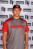 Fabian Sanchez Borges (17) of Puerto Rico Baseball Academy in Coamo, Puerto Rico during the Baseball Factory All-America Pre-Season Tournament, powered by Under Armour, on January 12, 2018 at Sloan Park Complex in Mesa, Arizona.  (Mike Janes/Four Seam Images)