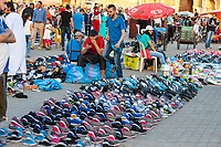 Meknes, Morocco.  Shoes and Sandals (Flip-flops) for Sale in the Place Hedime.