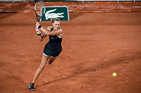 29th September 2020, Roland Garros, Paris, France; French Open tennis, Roland Garros 2020;  Kristina MLADENOVIC FRA plays a backhand during her match against Laura SIEGEMUND GER in the Philippe Chatrier court on the first round of the French Open