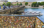 France, Paris, 25-05-2015, <br /> Maandag komt er een definitief einde aan de liefdesslotjes op de Parijse Pont des Arts.  Pont de l'Archevêché Op de brug, die ook wel bekend staat als de liefdesbrug nadat talloze stelletjes er slotjes als uiting van hun liefde aan hingen, komen panelen van plexiglas. Dit, om in de toekomst te voorkomen dat er nog slotjes aan worden gehangen.<br /> De slotjes zijn velen een doorn in het oog. Vorige zomer brak een stuk van de brug af onder het gewicht ervan. Komende maandag worden alle slotjes van de brug verwijderd. <br /> <br /> Monday June 1, the famous bridge of Love , Pont de l'Archevêché, the Pont de Arts, will be stripped of the thousands of Love locks attached to the steel bridge. The weight of the locks endangers the stability of the ancient bridge. <br /> foto Michael Kooren