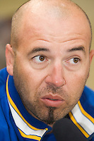 10 Aug 2007: Didier Seminet answers a journalist after game 1 of the french championship finals between Templiers (Senart) and Huskies (Rouen) in Chartres, France. Templiers beat Huskies 1-0.