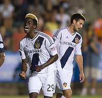 Gyasi Zardes (29) of the LA Galaxy yells after missing a shot during a third round match in the US Open Cup at WakeMed Soccer Park in Cary, NC.  The Carolina Railhawks defeated the LA Galaxy, 2-0.