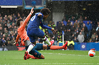 Chelsea's Willian has a shot on goal despite the attentions of Everton's Mason Holgate<br /> <br /> Photographer Stephanie Meek/CameraSport<br /> <br /> The Premier League - Chelsea v Everton - Sunday 8th March 2020 - Stamford Bridge - London<br /> <br /> World Copyright © 2020 CameraSport. All rights reserved. 43 Linden Ave. Countesthorpe. Leicester. England. LE8 5PG - Tel: +44 (0) 116 277 4147 - admin@camerasport.com - www.camerasport.com