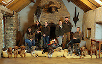 FAO JANET TOMLINSON, DAILY MAIL PICTURE DESK<br />Pictured: Members of staff with<br />some of the dogs they are looking after in the Training Barn Monday 14 November 2016<br />Re: The Dog House in the village of Talog, Carmarthenshire, Wales, UK