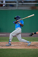 Myrtle Beach Pelicans Delvin Zinn (1) at bat during a Carolina League game against the Potomac Nationals on August 14, 2019 at Northwest Federal Field at Pfitzner Stadium in Woodbridge, Virginia.  Potomac defeated Myrtle Beach 7-0.  (Mike Janes/Four Seam Images)