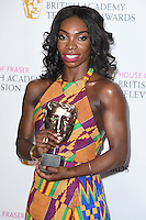 Michaela Coel<br /> in the winners room at the 2016 BAFTA TV Awards, Royal Festival Hall, London<br /> <br /> <br /> ©Ash Knotek  D3115 8/05/2016