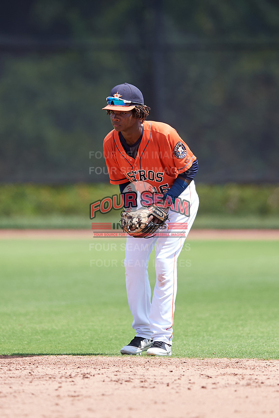 GCL Astros shortstop Freudis Nova (16) during a game against the GCL Marlins on August 5, 2018 at FITTEAM Ballpark of the Palm Beaches in West Palm Beach, Florida.  GCL Astros defeated GCL Marlins 2-1.  (Mike Janes/Four Seam Images)