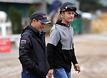 LOUISVILLE, KY -APR 25: Kentucky Derby winning jockeys Gary Stevens (Left) and Calvin Borel stroll around the backside of Churchill Downs, Louisville, Kentucky, during morning works. (Photo by Mary M. Meek/Eclipse Sportswire/Getty Images)