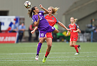 Portland, OR - Saturday October 07, 2017: Marta Vieira Da Silva, Lindsey Horan during a National Women's Soccer League (NWSL) semifinals match between the Portland Thorns FC and the Orlando Pride at Providence Park.