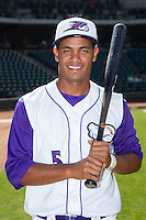 Cleuluis Rondon (5) of the Winston-Salem Dash poses for a photo prior to the game against the Wilmington Blue Rocks at BB&T Ballpark on July 6, 2014 in Winston-Salem, North Carolina.  The Dash defeated the Blue Rocks 7-1.   (Brian Westerholt/Four Seam Images)