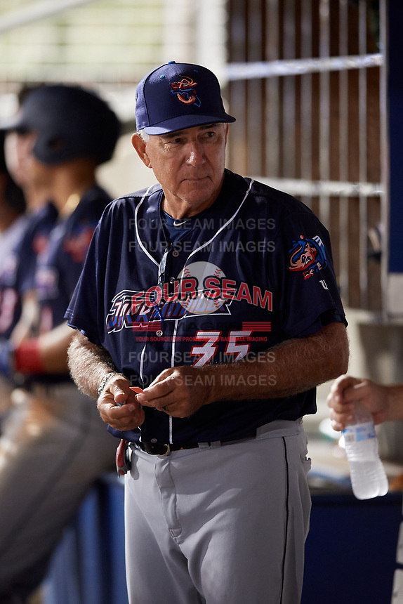 Jacksonville Jumbo Shrimp pitching coach Dave LaRoche (35) in the dugout during a game against the Pensacola Blue Wahoos on August 15, 2018 at Blue Wahoos Stadium in Pensacola, Florida.  Jacksonville defeated Pensacola 9-2.  (Mike Janes/Four Seam Images)