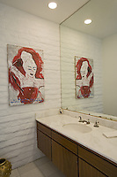 Stock photo of residential guest bathroom, powder room. Stock photo of master bath, en suite, bathroom