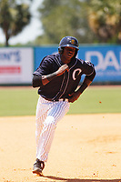 Charleston River Dogs designated hitter Estevan Florial (8) running the bases during a game against the Lakewood BlueClaws at Joseph P. Riley, Jr. Ballpark on May 3, 2017 in Charleston, South Carolina. Lakewood defeated Charleston 11-6. (Robert Gurganus/Four Seam Images)
