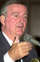 Montreal, October 16, 2001 File Photo <br /> <br />  Montreal Mayor Pierre Bourque  deliver a campaign speech in front of members of the Montreal Young Chamber of Commerce, october 16th  2001, in Montreal, Canada<br /> <br />  Bourque was defeated by opponent Gerald Tremblay  in the Nov 4th, 2001 municipal elections<br /> <br /> Photo by Pierre Roussel -Images Distribution<br /> NOTE :  D-1 Uncorrected JPEG opened with QUIMAGE profile, saved in Adobe 1998 RGB color space