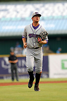 Winston-Salem Dash outfielder Blake Rutherford (9) running in to the dugout during a game against the Myrtle Beach Pelicans at Ticketreturn.com Field at Pelicans Ballpark on July 22, 2018 in Myrtle Beach, South Carolina. Winston-Salem defeated Myrtle Beach 7-2. (Robert Gurganus/Four Seam Images)